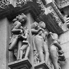 Khajuraho by Amit Aggarwal - Buildings & Architecture Statues & Monuments ( mp, black and white, 1000 years old, thorn in the foot, statues, khajuraho, lady, india, doctor )