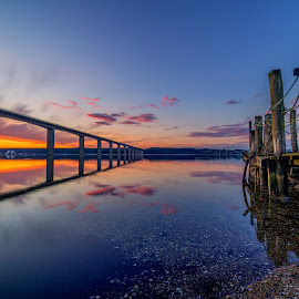 Old meets new by Bent Velling - Buildings & Architecture Bridges & Suspended Structures ( clouds, water, sunset, vejle, reflections, samyang 14mm, sony a7r, jetty, bridge, denmark, vejlefjord, jutland )