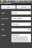 Screenshot of Group Expenses
