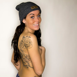 Topless & Tattooed by Laura Martin - People Body Art/Tattoos ( canon, salty, topless, canada, beanie, apparel, hat, girlswithtattoos, girl, happy, tattoos, saltyapparel, smile, tattoo )