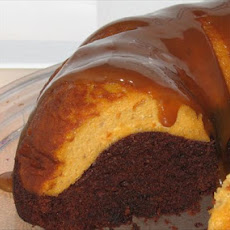 Pumpkin Cheesecake Topped Chocolate Bundt Cake W. Dulce De Leche