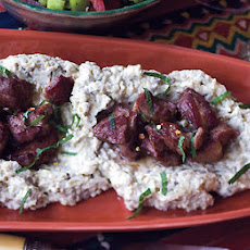 Spicy Lamb with Charred Eggplant Purée and Pita