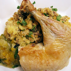 Roast Chicken with Cornbread and Sausage Stuffing