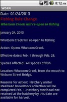 Screenshot of WDFW-WA Fish/Wildlife notices