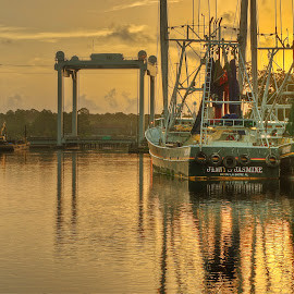 Shrimp Sunrise AL by Jim Howton - Transportation Boats ( sunsrise, shrimping, harbor, boats, alabama, channel )