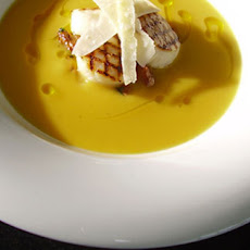 Griddled Scallops With Girolles And Butternut Squash Soup