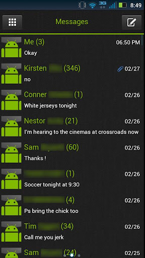 GO SMS Clean Green Theme