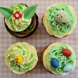 Easter cupcakes by Heather Aplin - Food & Drink Candy & Dessert ( cake, cupcake, easter, sweet, eggs, bunny, icing, treat, sugar, dessert )