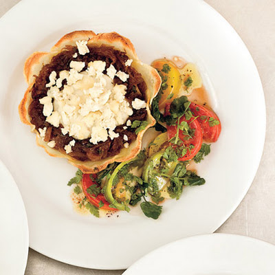 Potato-Crusted Goat Cheese Tart with Heirloom Tomato Salad