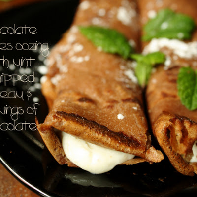 Chocolate Crepes with Mint Whipped Cream