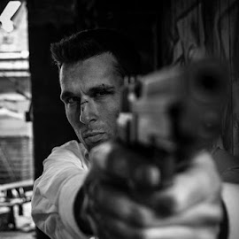 The Agent by Edward Heathcote - People Portraits of Men ( model, b&w, actor, stuntman, agent, gun )