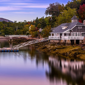 House Reflecting in Seal Harbor, Maine by Aaron Priest - Landscapes Waterscapes ( seal harbor, reflection, maine, hdr, autumn, fall, ocean, long exposure, coast )