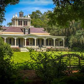 Joseph Jefferson Mansion by Sheldon Anderson - Buildings & Architecture Homes ( home, rip van winkle, jefferson island, moss, victorian, trees, joesph jefferson, historic )