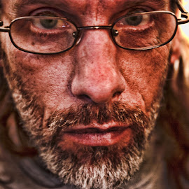 In Your Face by Todd Yoder - People Portraits of Men ( up close, manipulations, intense, self portrait, men )