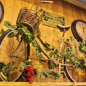 Bike With Grapes by Tina Stevens - Artistic Objects Other Objects ( store, decoration, clock, art, shelves, two-wheeler, bicycle, sign, bike, grapes, artistic, basket, gifts, velocipede, shelf, decorated, antique,  )
