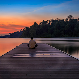 Meditation by GokulaGiridaran Mahalingam - People Street & Candids ( nature, silky water, sunset, solitude, seascape, landscape, float, dusk, singapore, human )