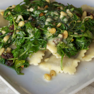 Ravioli with Arugula, Pine Nuts & Raisins