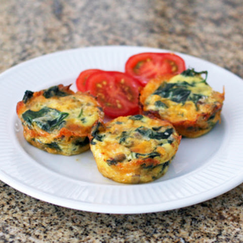 Mini Crustless Spinach and Mushroom Quiches