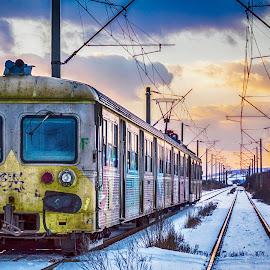 Soul train by Raoul Poenar - Transportation Trains ( winter, sunset, train, tracks, landscape )