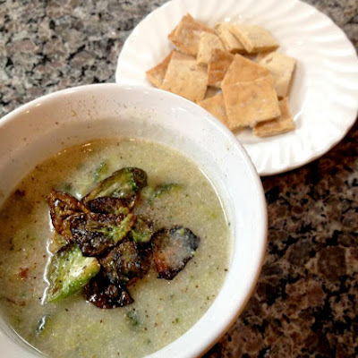 Velvety Sprout & Broccoli Soup with Garbanzo-Sesame Crackers