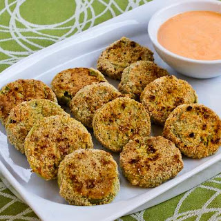 Oven-Fried Green Tomatoes with Sriracha-Ranch Dipping Sauce (Gluten-Free, Low-Carb)