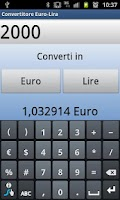 Screenshot of Convertitore Euro-Lira Italia