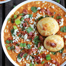 Buffalo Chicken Corn Chowder with Blue Cheese Gougères