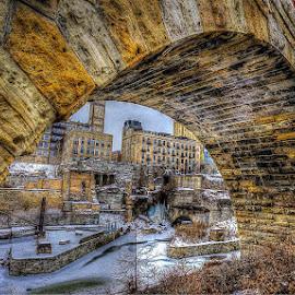 CITY UNDER A BRIDGE by Michael Rey - Buildings & Architecture Public & Historical ( stone arch bridge, landmarks, minneapolis, historic district, architecture, downtown )