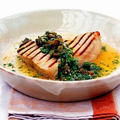 Char-grilled Tuna with Warm Coriander and Caper Vinaigrette