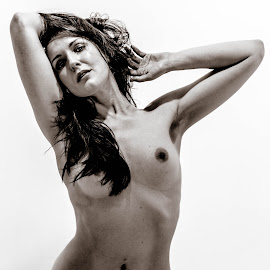 Cassie by Peter McLean - Nudes & Boudoir Artistic Nude ( high key, monochrome, artistic, white background, hair, shadows )