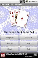 Screenshot of Thirty-one Card Game Pad