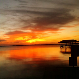 Pier at Sunset by Christa Miller - Instagram & Mobile Android ( reflection, silhouette, sunset, beautiful, pier )