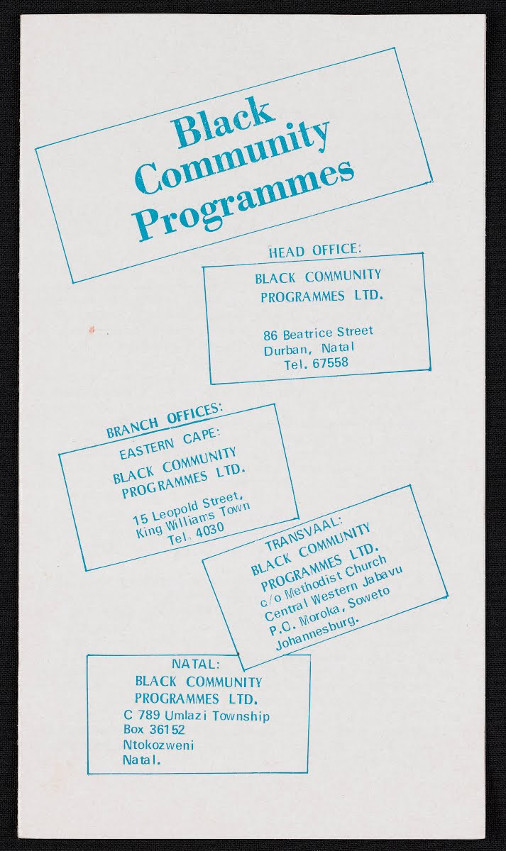 Black Community Programmes Pamphlet
