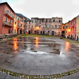 Castle square by Roberta Sala - City,  Street & Park  Street Scenes ( pigna, street, square, italy, street photography )