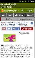 Screenshot of HotUKDeals DROID