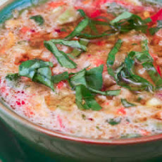 Confetti Gazpacho Recipe with Yellow Tomatoes, Red Peppers, and Basil