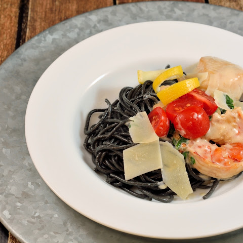 Squid Ink Pasta with White Wine Cream Sauce