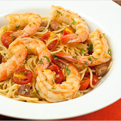 Spanish Spaghetti with Shrimp and Chorizo