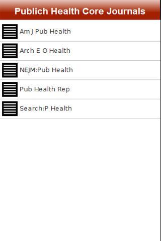 Public Health Core Journals