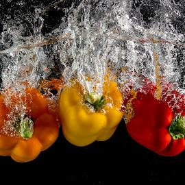 Triple Threat by Troy Wheatley - Food & Drink Fruits & Vegetables ( water, orange, red, splash, bell pepper, pepper, yellow )