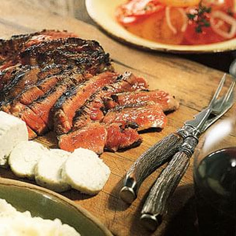 Grilled Peppery Rib-Eye Steaks with Roquefort Butter