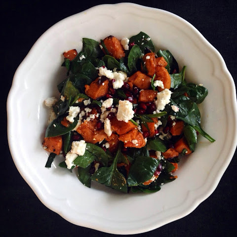 Sweet Potato Salad with Spinach, Pomegranate and Feta