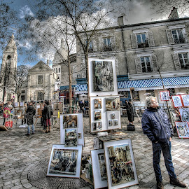 Place du Tertre 2 by Ben Hodges - City,  Street & Park  Street Scenes ( artists, paris, sacre coeur, hdr, montmartre, art, place du tertre, france )