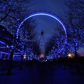 Christmas decoration near London eye  by Nizam Akanjee - City,  Street & Park  Night ( london eye, christmas decoration, night photography, night scene, night, night shot, nightscape, christmas, decoration, object,  )