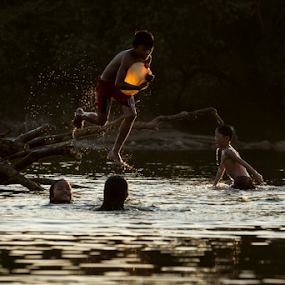 river bath by Kenji Le - Babies & Children Children Candids ( water, kids playing in summer, sunset, children, vietnam, kids )