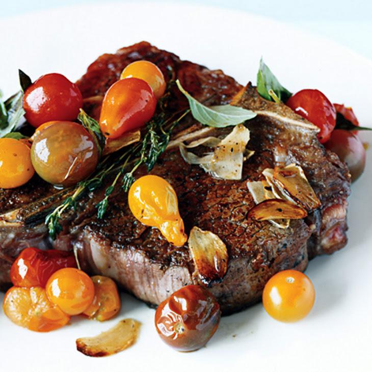 Porterhouse Steak with Pan Seared Cherry Tomatoes Recipe | Yummly