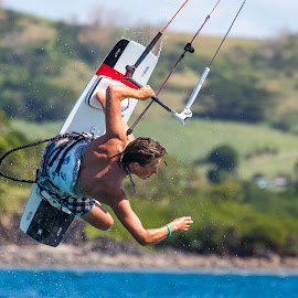 Catching Air by Jason Rose - Sports & Fitness Watersports ( kiting, kitboarding, air, fiji, jump )