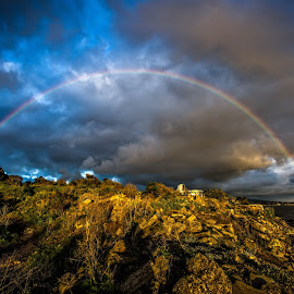 Rainbow over The Bulb by Mark Cote - Landscapes Weather ( clouds, urban art, san francisco bay, albany bulb, rainbow,  )