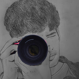 Fotografer.....pencil + photoshop by Syam Kumar - Drawing All Drawing ( pencil, camera, photografer, self, self portrait, drawing, photoshop )