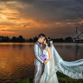 Love without end hath no end by Leong Ong - Wedding Bride & Groom ( sunset, wedding, couple, bride and groom, romance )